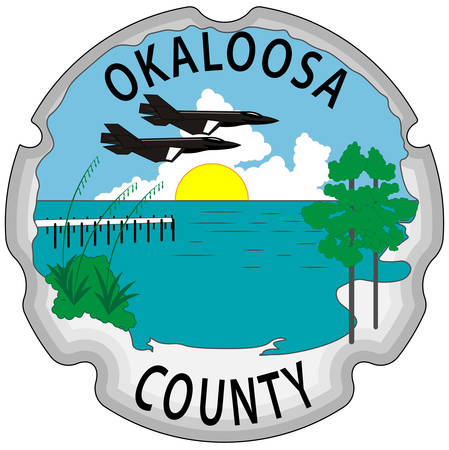 Coat of arms of Okaloosa County is a county located in the northwestern portion of the U.S. state of Florida. Vector illustration