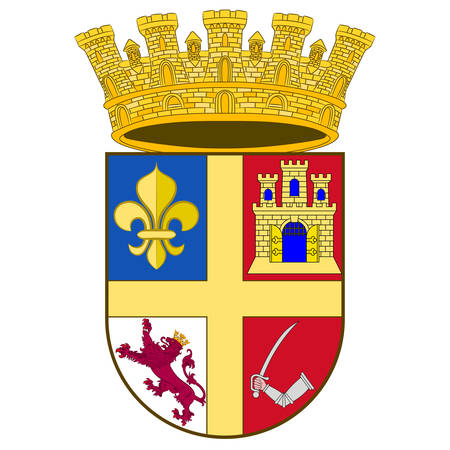 Coat of arms of St. Augustine is a city in the Southeastern United States, on the Atlantic coast of northeastern Florida. Vector illustration