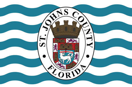Flag of St. Johns County is a county of the U.S. state of Florida. Vector illustration