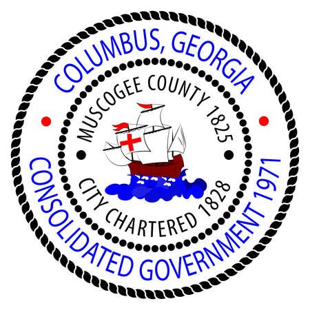Coat of arms of Columbus is a consolidated city-county located on the west central border of the U.S. state of Georgia. Vector illustration