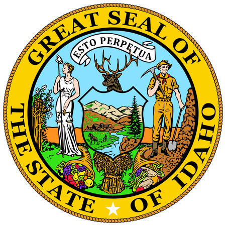 Coat of arms of Idaho is a state in the northwestern region of the United States. Vector illustrator