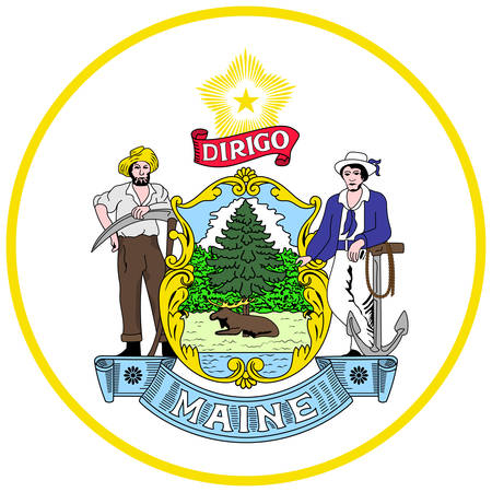 Coat of arms of Maine is the northernmost state in the New England region of the northeastern United States. Vector illustration