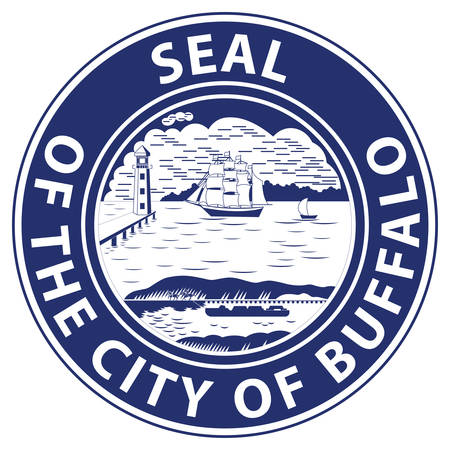 Coat of arms of Buffalo is the second largest city in the U.S. state of New York and the largest city in Western New York. Vector illustration