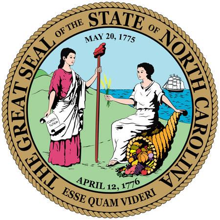 El escudo de armas de Carolina del Norte es un estado ubicado en la región sureste de los Estados Unidos. Ilustración vectorial