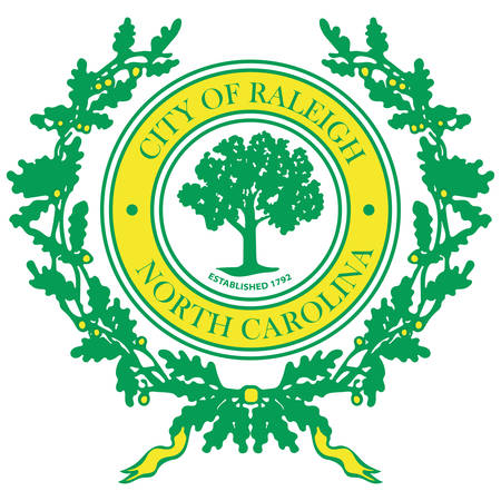 Coat of arms of Raleigh is the capital of the state of North Carolina and the seat of Wake County in the United States. Vector illustration