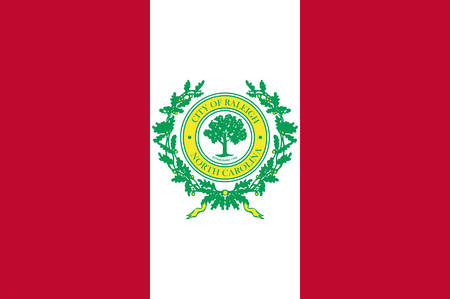 Flag of Raleigh is the capital of the state of North Carolina and the seat of Wake County in the United States. Vector illustration