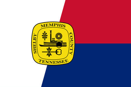 Flag of Memphis is a city located along the Mississippi River in southwestern Shelby County, Tennessee, United States. Vector illustration
