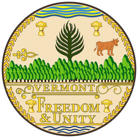 Coat of arms of Vermont is a state in the New England region of the northeastern United States. Vector illustration