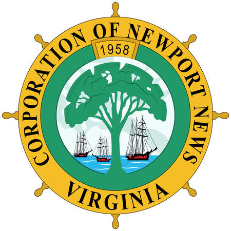 Coat of arms of Newport News is an independent city in the U.S. state of Virginia. Vector illustration