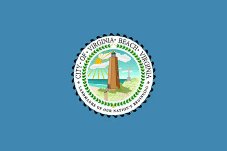 Flag of Virginia Beach is an independent city located on the southeastern coast of the Commonwealth of Virginia in the United States. Vector illustration