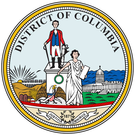 Coat of arms of Washington, D.C., formally the District of Columbia and commonly referred to as Washington or D.C., is the capital of the United States. Vector illustration 向量圖像