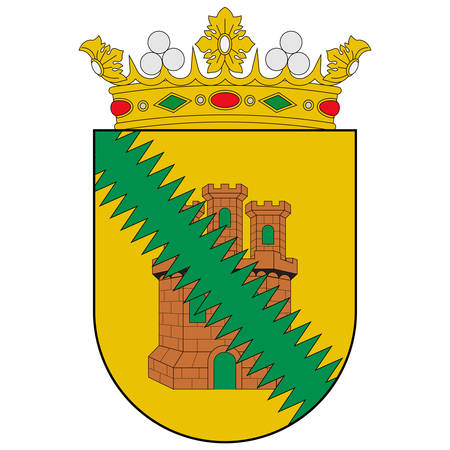 Coat of arms of region Cuadrilla de Salvatierra is one of the seven cuadrillas of the province of Alava is a province of Spain and a historical territory of the Basque Country. Vector illustration 向量圖像