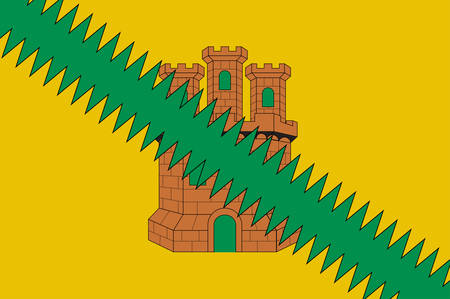 Flag of region Cuadrilla de Salvatierra is one of the seven cuadrillas of the province of Alava is a province of Spain and a historical territory of the Basque Country. Vector illustration