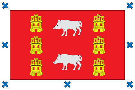 Flag of Montanya Alavesa is a comarca of the province of Alava, Spain. Vector illustration