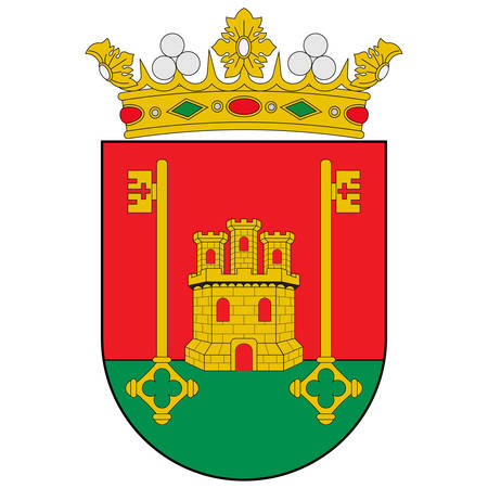 Coat of arms of Rioja Alavesa is one of seven comarcas that make up the province of Alava, Spain. Vector illustration
