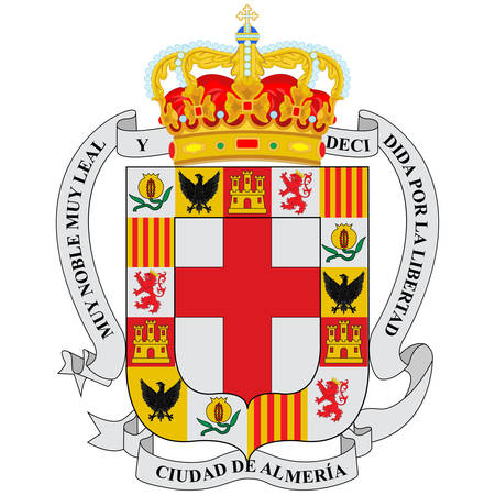 Coat of arms of Almeria is a city in Andalusia, Spain and is the capital of the province of the same name. Vector illustration 向量圖像