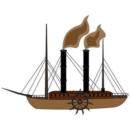 Hand drawing of a vintage steam paddle riverboat. Vector illustration