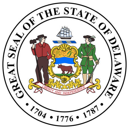 Coat of arms of Delaware is one of the 50 states of the United States, in the South-Atlantic or Southern region. Vector illustration 向量圖像