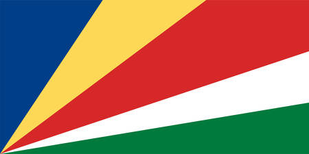 Flag of Republic of Seychelles is an archipelago country in the Indian Ocean. Vector illustration