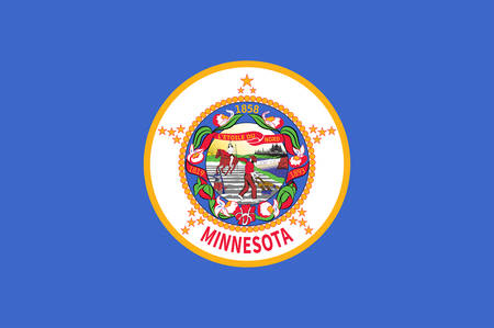 Flag of Minnesota is a state in the Upper Midwest, Great Lakes, and northern regions of the United States. Vector illustration