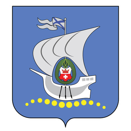 Coat of arms of Kaliningrad is the largest city and the administrative centre of Kaliningrad Oblast, a Russian exclave on the Baltic Sea. Vector illustration