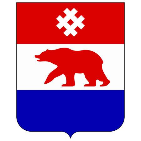 Coat of arms of Komi-Permyak Autonomous Okrug was an autonomous okrug of Russia, administered by Perm Oblast. Vector illustration