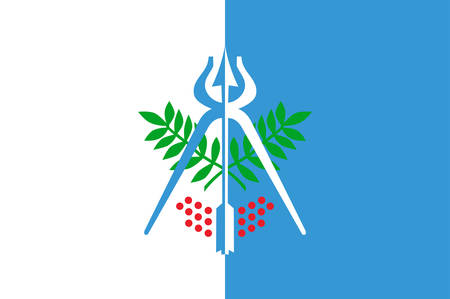 Flag of Izhevsk is the capital city of Udmurtia, Russia. Vector illustration Illustration