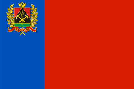 Flag of Kemerovo Oblast is a federal subject of Russia located in southwestern Siberia. Vector illustration