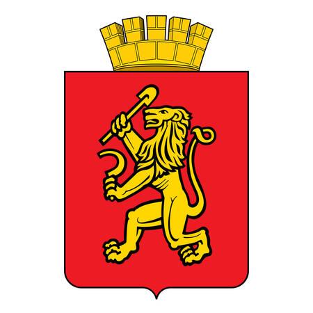 Coat of arms of Krasnoyarsk is a city and the administrative center of Krasnoyarsk Krai, Russia. Vector illustration