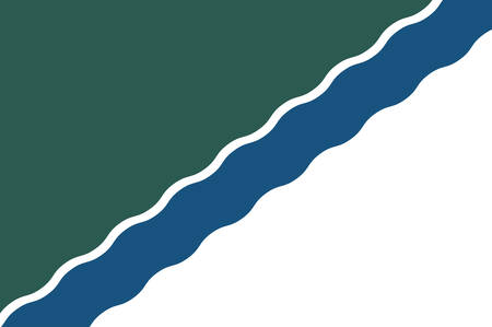 Flag of Novosibirsk is the administrative center of Novosibirsk Oblast in Russia. Vector illustration