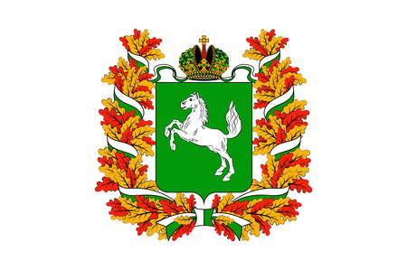 Coat of arms of Tomsk is a city and the administrative center of Tomsk Oblast in Russia. Vector illustration