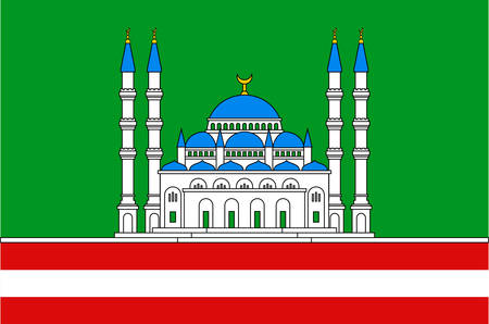 Flag of Grozny is the capital city of Chechnya, Russia. Vector illustration 向量圖像