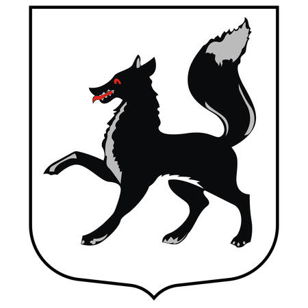 Coat of arms of Salekhard is a town and the administrative center of Yamalo-Nenets Autonomous Okrug, Russia. Vector illustration Иллюстрация