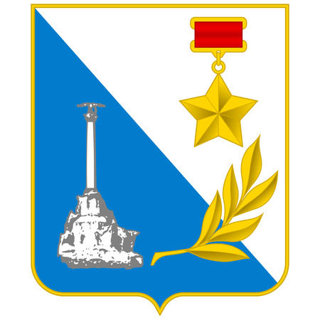 Coat of arms of Sevastopol is the largest city on the Crimean Peninsula and a major Black Sea port. Vector illustration