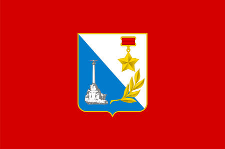 Flag of Sevastopol is the largest city on the Crimean Peninsula and a major Black Sea port. Vector illustration