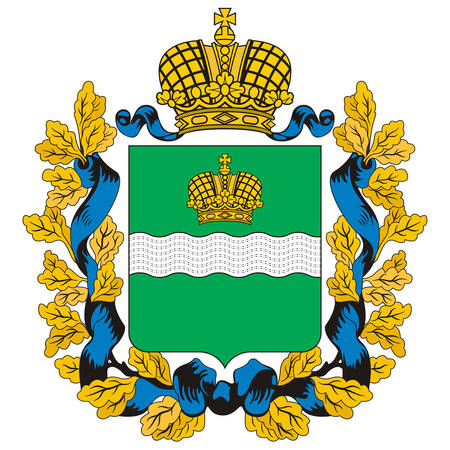 Coat of arms of Kaluga Oblast is a federal subject of Russia. Vector illustration