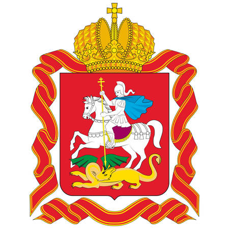 Coat of arms of Moscow Oblast is a federal subject of Russia. Vector illustration 矢量图像