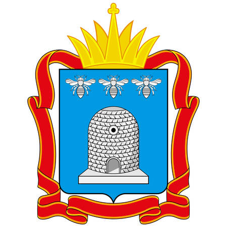 Coat of arms of Tambov Oblast is a federal subject of Russia. Vector illustration