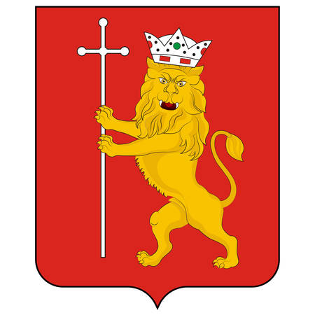 Coat of arms of Vladimir is a city and the administrative center of Vladimir Oblast, Russia. Vector illustration 矢量图像
