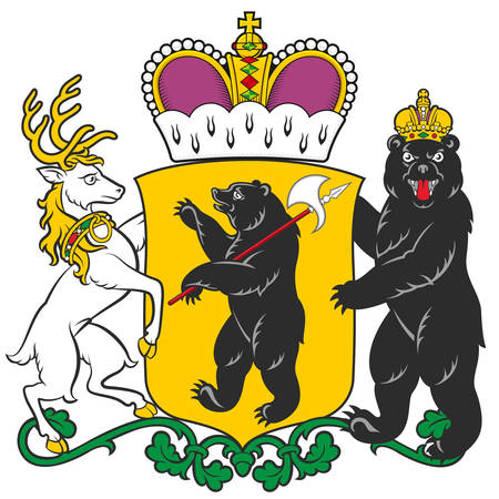 Coat of arms of Yaroslavl Oblast is a federal subject of Russia. Vector illustration