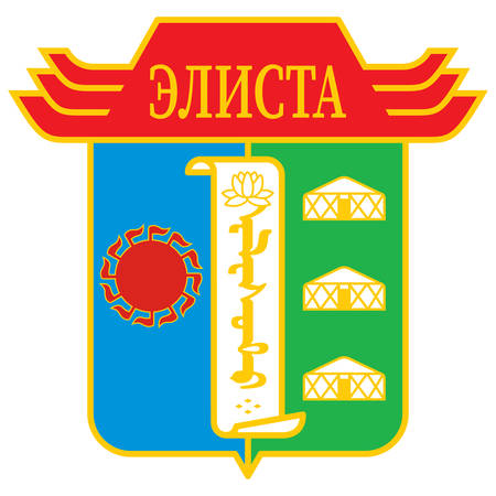 Coat of arms of Elista is the capital city of the Republic of Kalmykia, Russia. Vector illustration