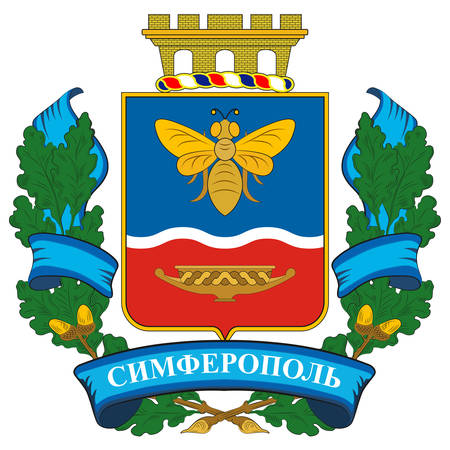 Coat of arms of Simferopol is the second-largest city on the Crimean Peninsula, and the capital of the Republic of Crimea. Vector illustration