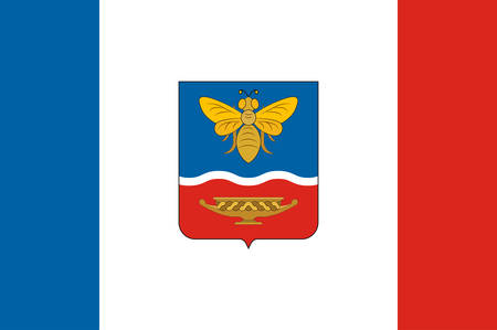 Flag of Simferopol is the second-largest city on the Crimean Peninsula, and the capital of the Republic of Crimea. Vector illustration