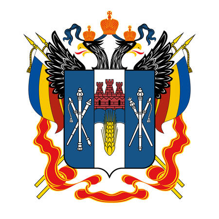 Coat of arms of Rostov Oblast is a federal subject of Russia located in the Southern Federal District. Vector illustration