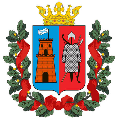 Coat of arms of Rostov-on-Don is a port city and the administrative centre of Rostov Oblast and the Southern Federal District of Russia. Vector illustration 矢量图像