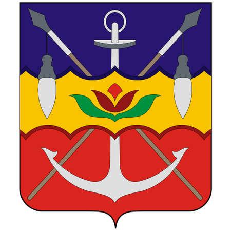 Coat of arms of Gelendzhik is a resort town in Krasnodar Krai, Russia, located on the Gelendzhik Bay of the Black Sea. Illustration
