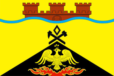 Flag of Taganrog is a port city in Rostov Oblast, Russia, on the north shore of the Taganrog Bay in the Sea of Azov. Vector illustration Vektorové ilustrace
