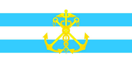 Flag of Taganrog is a port city in Rostov Oblast, Russia, on the north shore of the Taganrog Bay in the Sea of Azov. Vector illustration