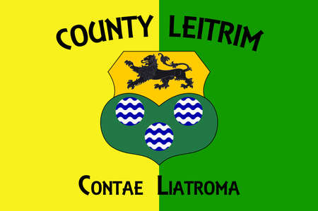 Flag of County Roscommon is a county in Ireland. In the western region, it is part of the province of Connacht. Vector illustration