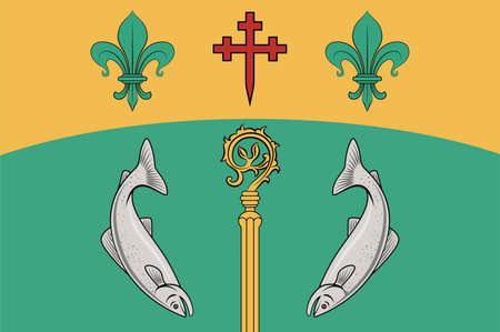 Flag of County Tyrone is one of the nine counties of Ulster, one of the six counties of Northern Ireland. Vector illustration Vettoriali